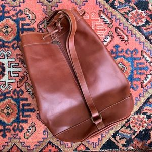 VTG Genuine Leather Drawstring Bucket Bag